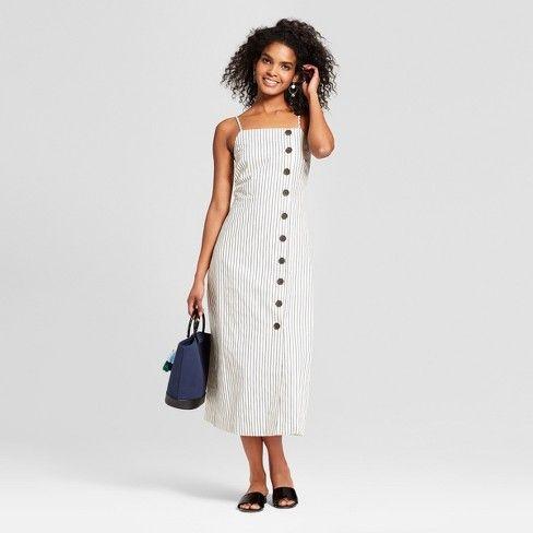 e3a60d0f2e52 Women's Striped Sleeveless Button-Down Midi Slip Dress - Who What Wear™  Blue/White S