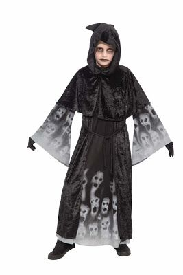 Boys Gothic Vampire Costume Hooded Robe Forgotten Souls Halloween Fancy Dress