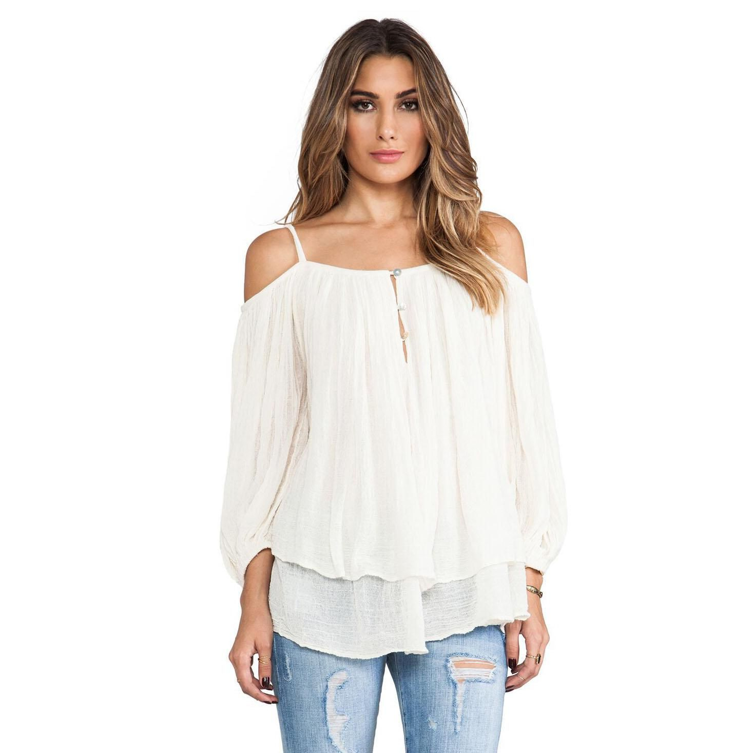 b3354bd1372491 White Long Sleeve Off The Shoulder Shirts - DREAMWORKS