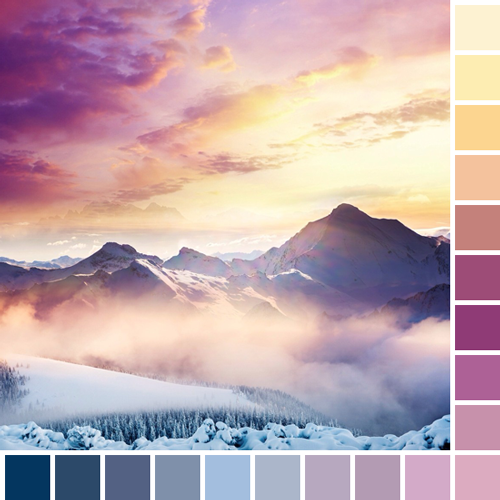 landscape orange featured blue pink purple colors nature yellow sunset light blue square dark blue color palette light purple ligh pink