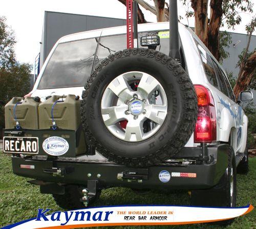 Kaymar Rear Bars Spare Wheel Carriers Jerrycan Holders Accessories Gu Patrol Wheel Carrier Nissan Patrol Jerry Can