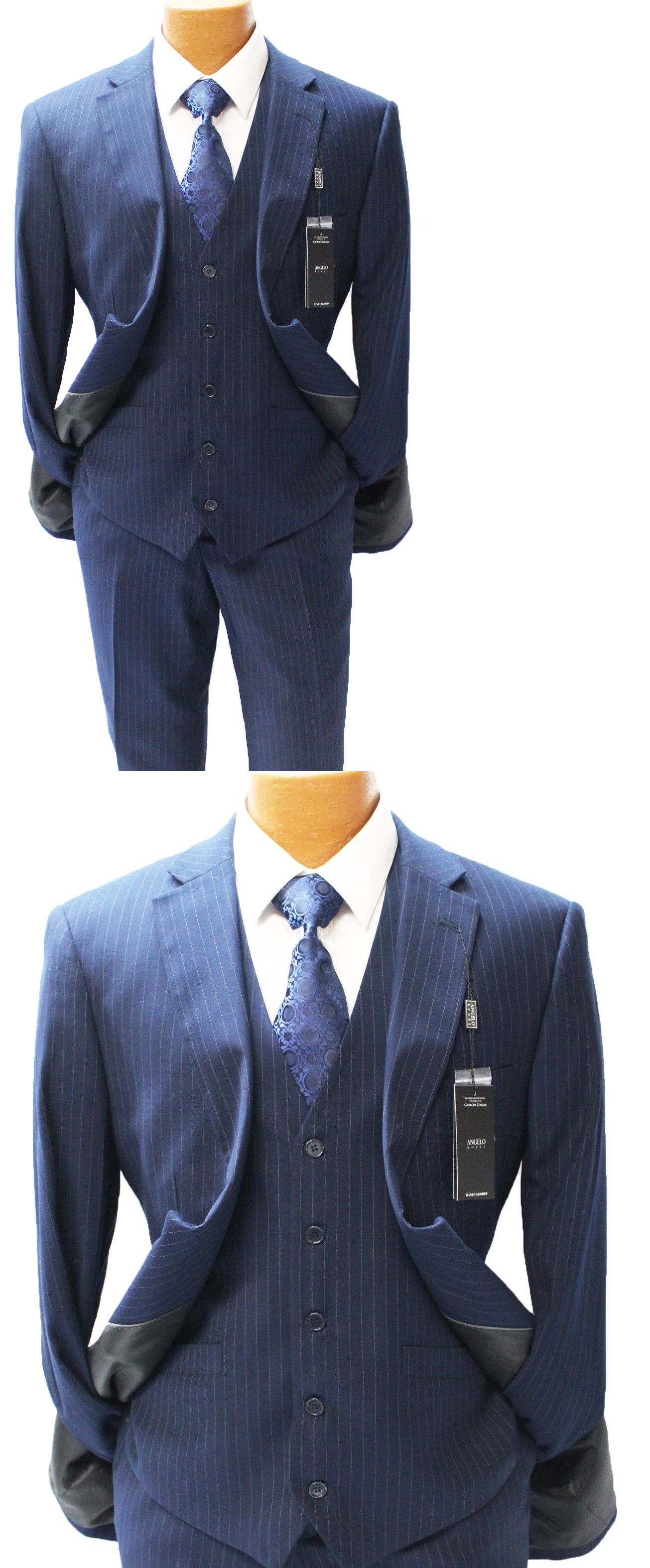 Suits angelo rossi navy pinstripe vested modern fit suit mens