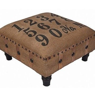 Burlap Covered Footstool...printed numbers and nailheads...