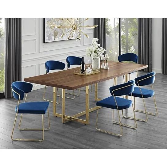 Agustin Wood Veneer Dining Table Metal Base Modern Design