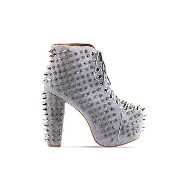 Jeffrey Campbell - Lita Spike 2 ($115) ❤ liked on Polyvore featuring shoes, boots, ankle booties, heels, jeffrey campbell, denim silver, heeled booties, spiked boots, high heel ankle booties and platform booties