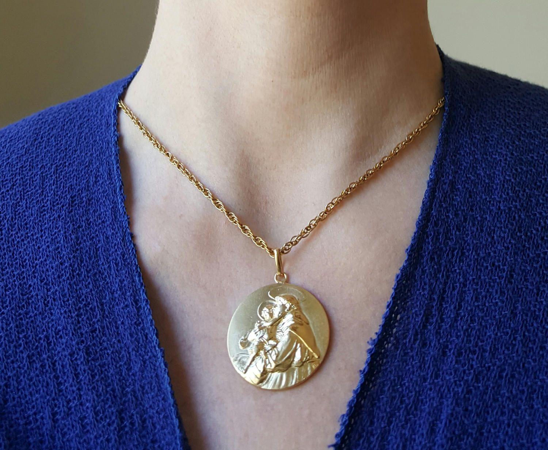 Spanish Saint Anthony Medal Pendant 18K Gold Plated Silver Catholic