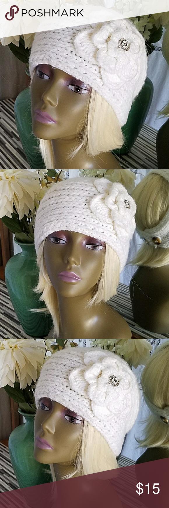 Crochet Flower & Rhinestones Headband / Ear Warmer | Pinterest