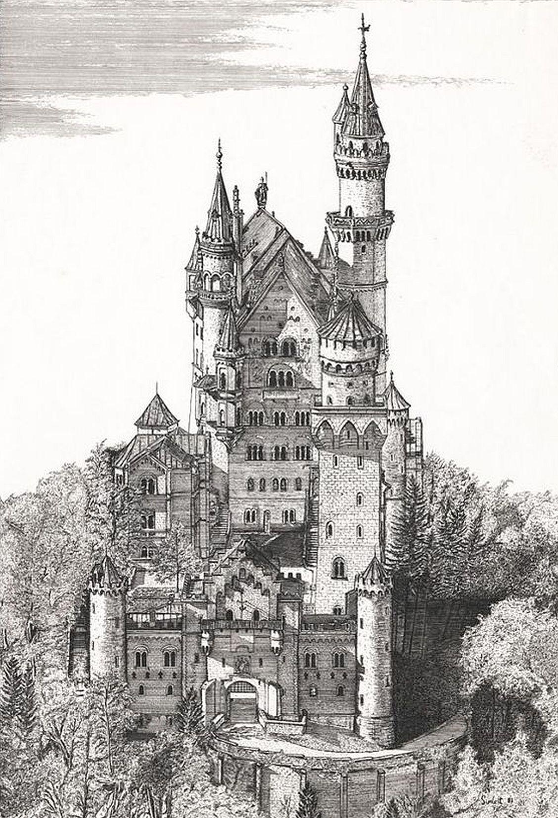 Schloss Neuschwanstein Schloss Neuschwanstein Schlosszeichnung Burg Tattoo