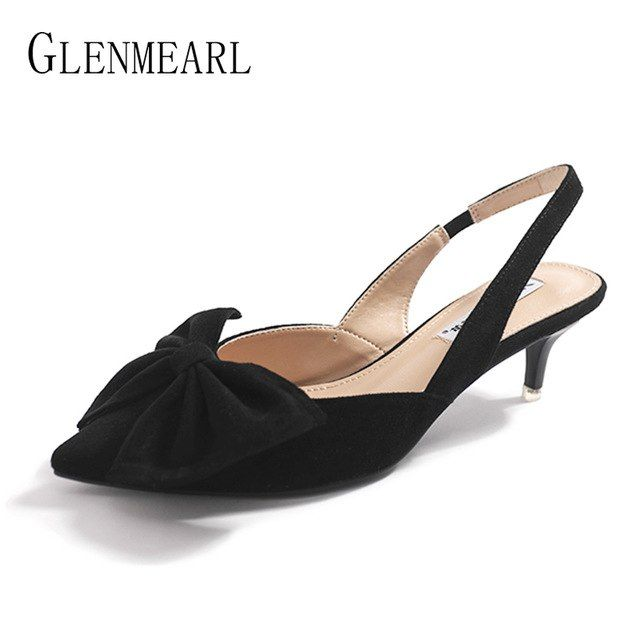 1e8bfdc9b4 Slingbacks for women Brand Shoes Women Black Pointed Toe Natural Suede  Summer Shoes