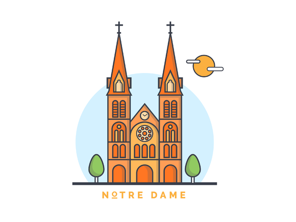 Norte Damne Church Illustration Illustration Illustration Design Graphic Illustration