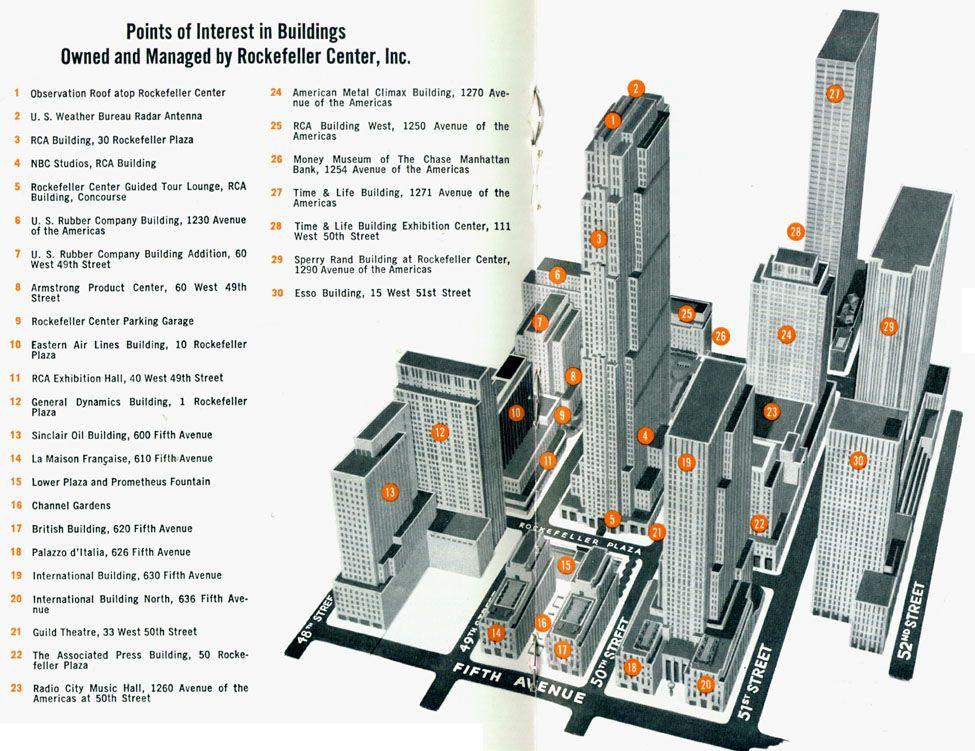 Rockefeller Center Vintage Axonometric Architecture