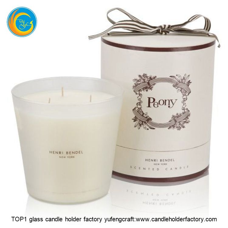 White Candle In Candle Jars Wholesale Frosted Glass With Wooden Lids