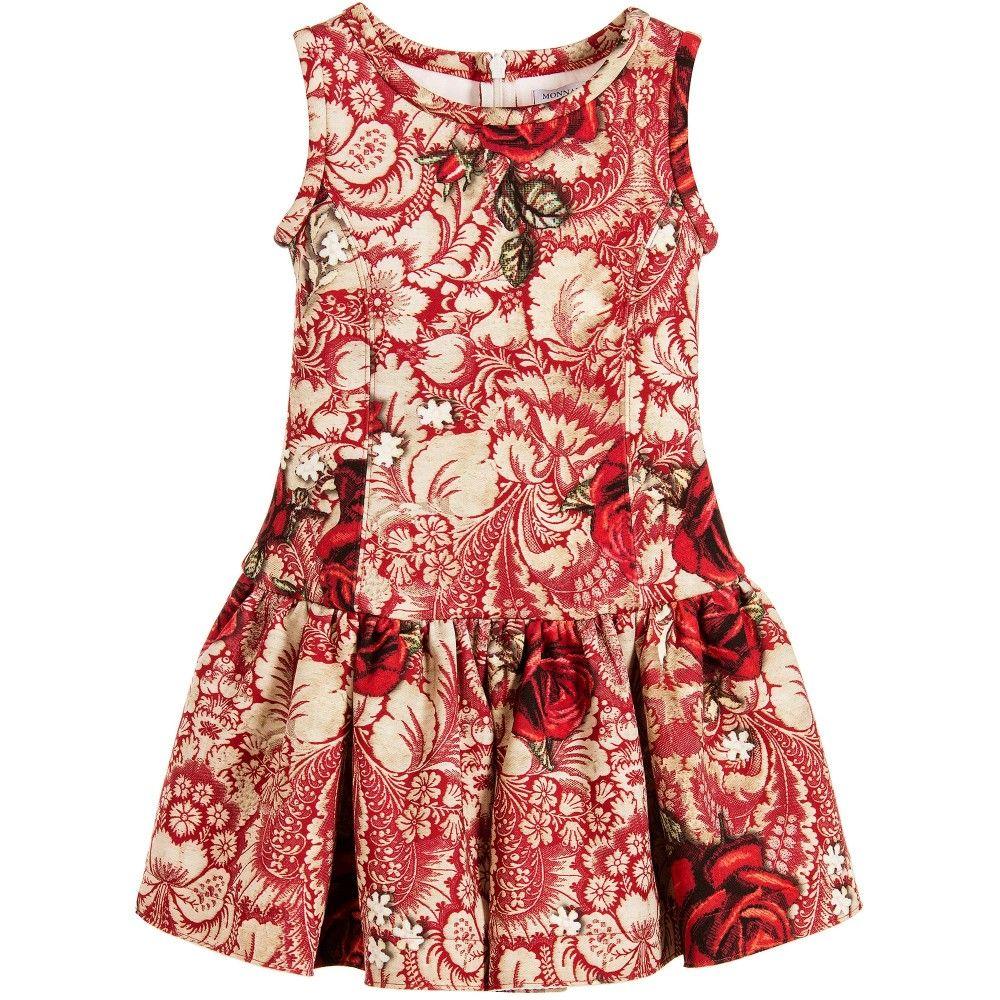 1eaf7dc85cf8e Monnalisa girls sleeveless neoprene dress. It has a red and beige  flock-leaf style