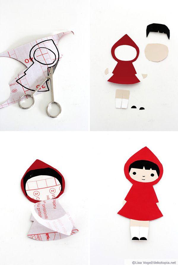 Rotkappchen Aufkleber Bastelideen Bricolage Papier Origami Und