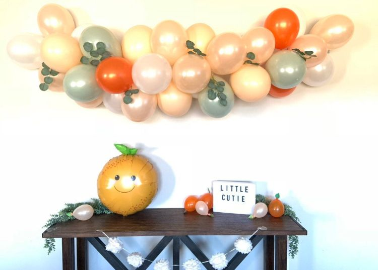 Little Cutie Baby Shower Decorations Orange Balloon Garland A Little Cutie is on The Way Backdrop for Tangerine Theme Baby Shower Clementine Fruit Hey Cutie Birthday Party Supplies