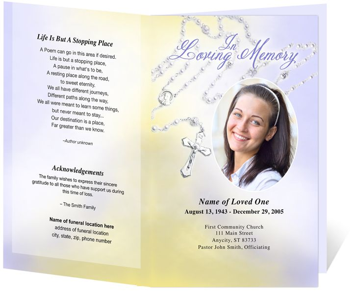 Catholic Funeral Programs Beads Single Fold Program Templates  D