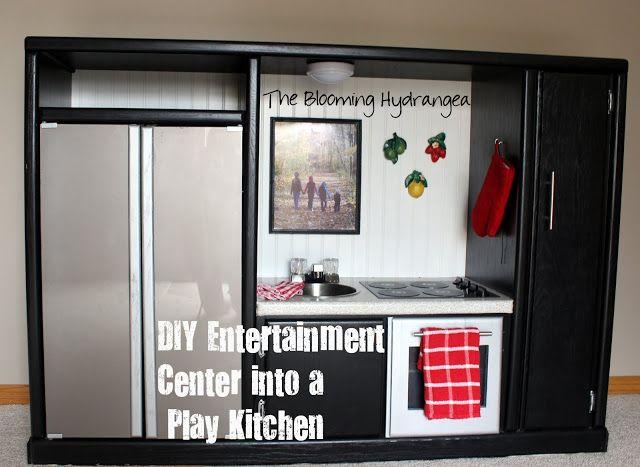 Diy Entertainment Center Into A Play Kitchen Mobilier De Salon Meuble Original Centre De Loisirs