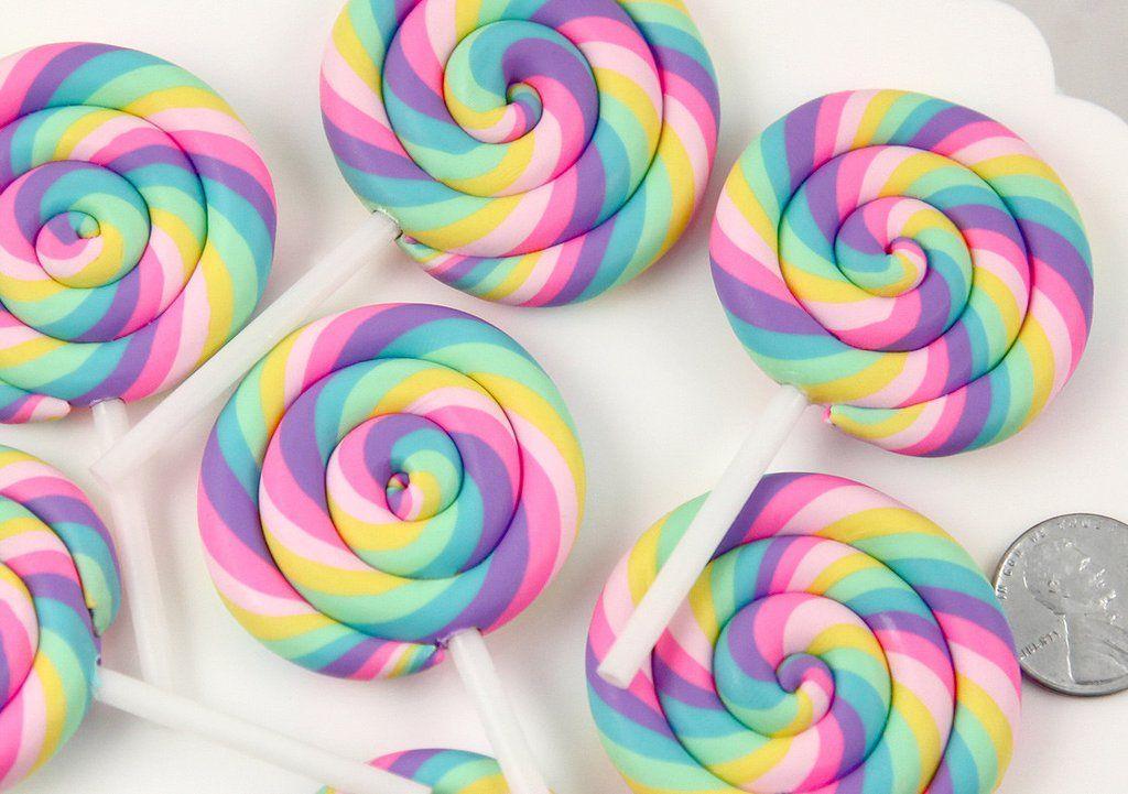 80mm Huge Pastel Rainbow Swirl Lollipop Flatback Clay Or Resin Cabochons 2 Pc Set Swirl Lollipops Rainbow Lollipops Lollipop