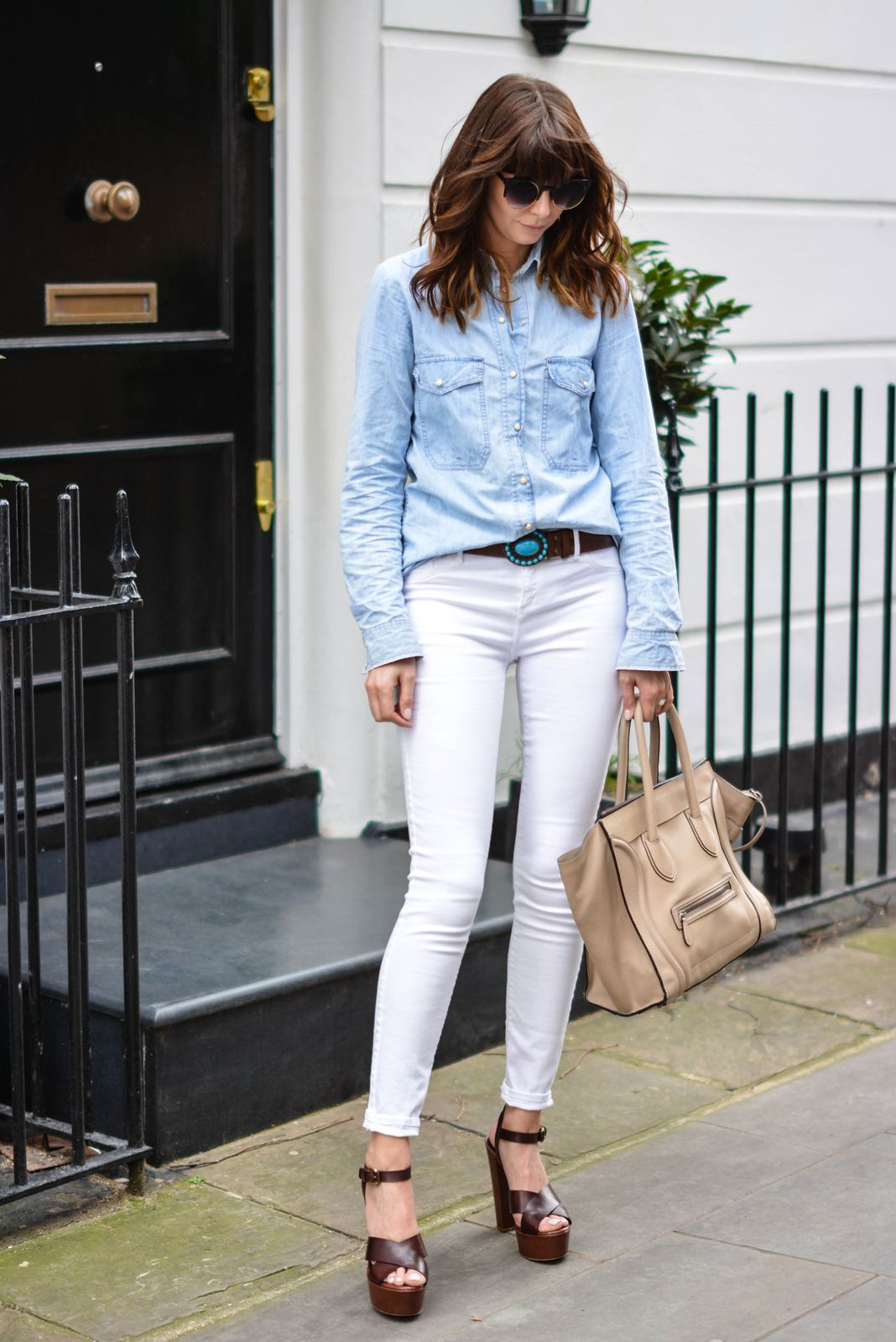 White skinny jeans, denim shirt, turquoise stone & brown leather ...