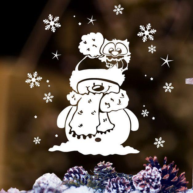 """fensterbild """"kleine winter eule mit schneemann und"""