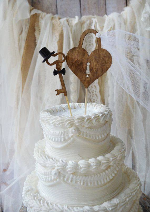 Weddings Cake Toppers Rustic Wood Heart Mr And Mrs Key To My Heart Sign Skeleton Key Wedding Cake Toppers Rustic Wedding Cake Toppers Wedding Cake Topper Signs