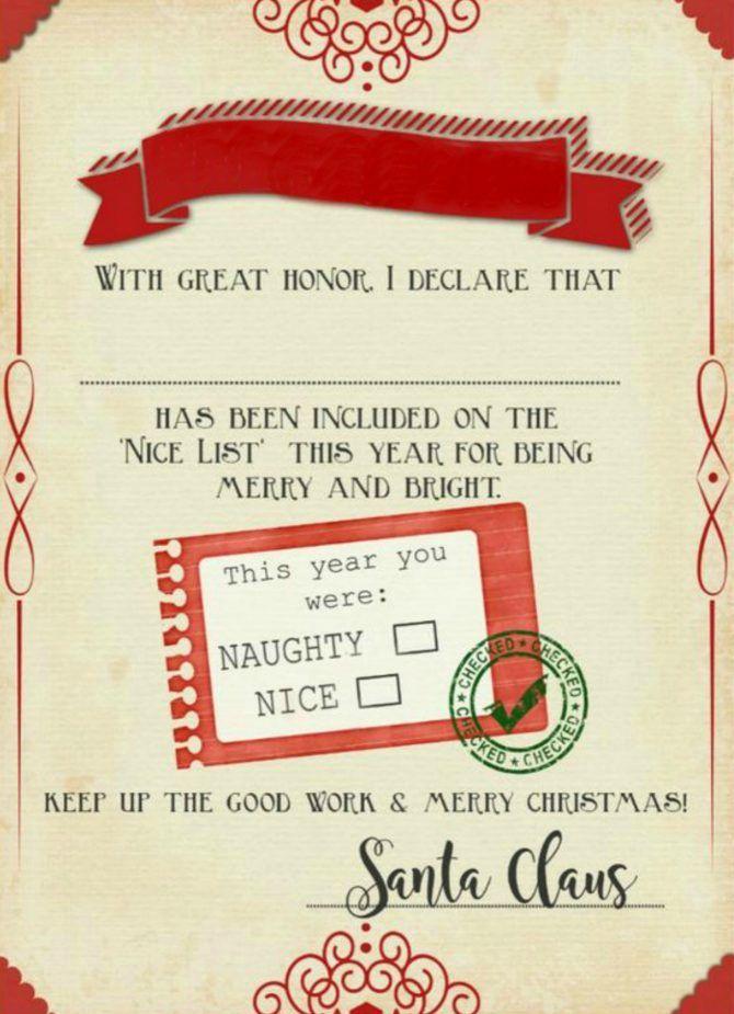 photo relating to Printable Santa Nice List Certificate known as Santa \