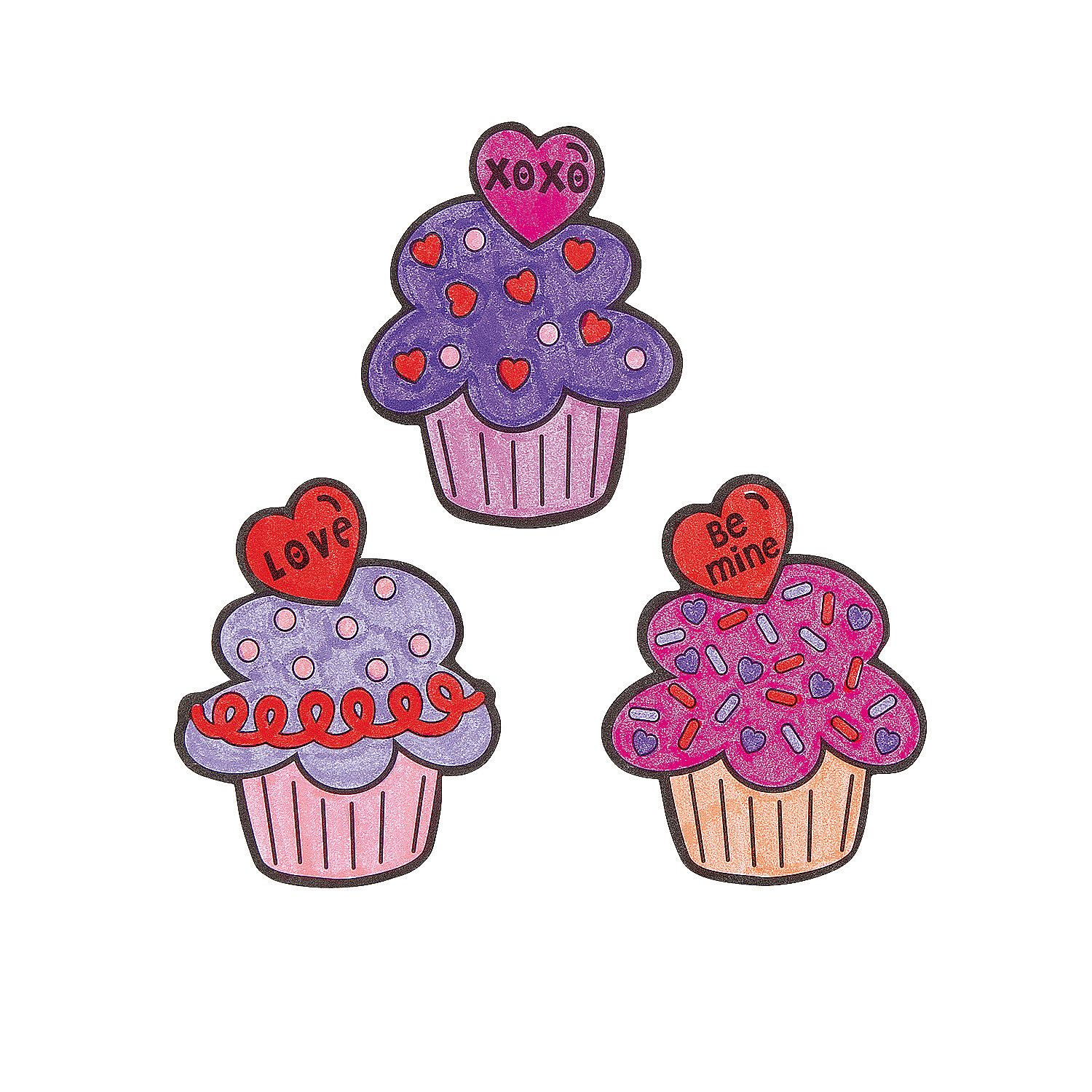 Color+Your+Own+Valentine+Cupcake+Magnets+-+OrientalTrading.com  valentines craft at your party.