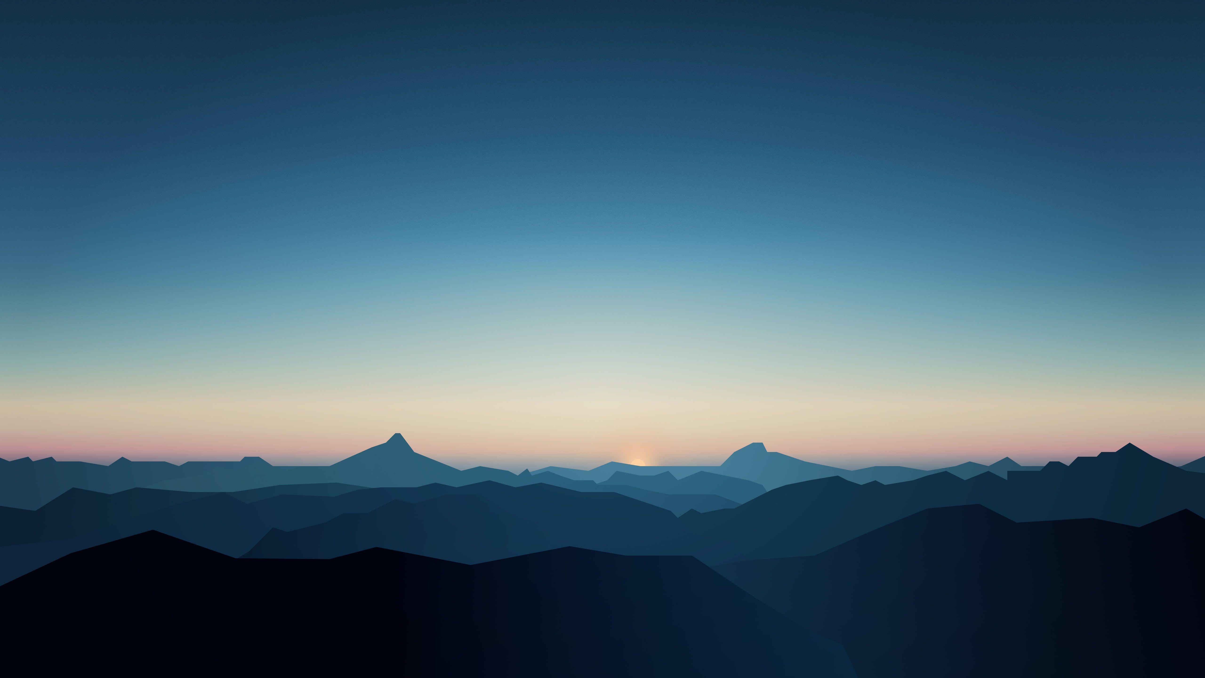 5k Cgi Dark Mountains Sunrise Minimal Wallpaper Minimal Wallpaper Minimal Desktop Wallpaper Mountain Wallpaper