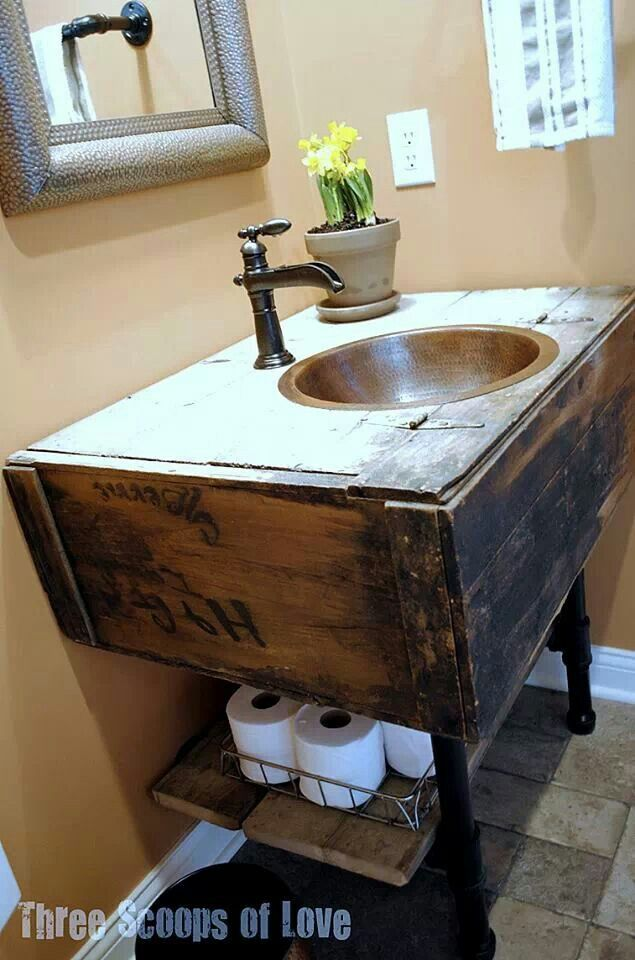 Rustic bathroom sink Baños Pinterest Rustic bathroom sinks
