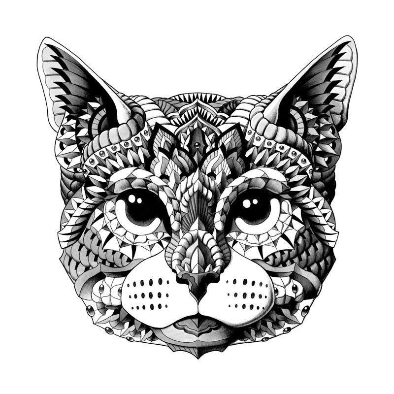 Cat Head Hand Embellished Art Dog Coloring Page Animal