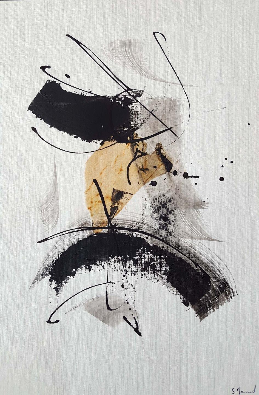 Peinture Moderne Acrylique Noir Encre De Chine Matiere Marron Sur