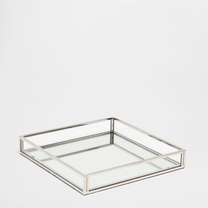 Billede 1 af produktet: Pyntebakke i sølvfarvet metal med spejl