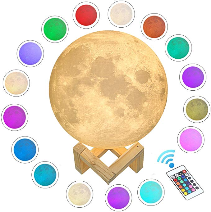 Aced 3d Printed Moon Lamp Led 16 Colors Rgb Moon Night Light Lamp Remote Touch Control Dimmable Color Changi In 2020 Night Light Lamp Lamp Light Baby Night Light