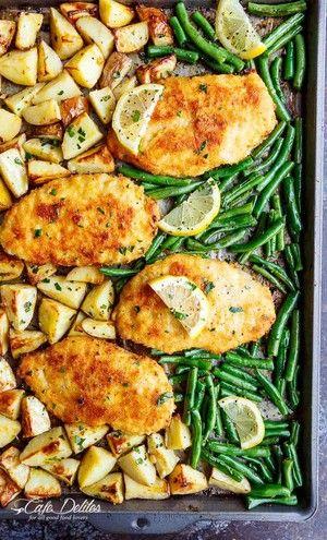 Knusprige Parmesan gebackene Hühnchen Milanese & Gemüse  – Cooking
