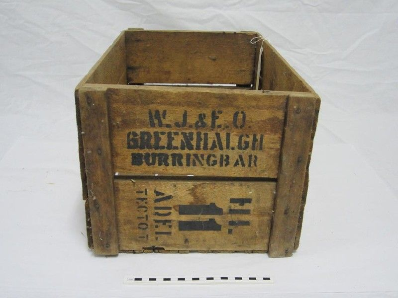 Banana case / crate, wood, marked with stencil
