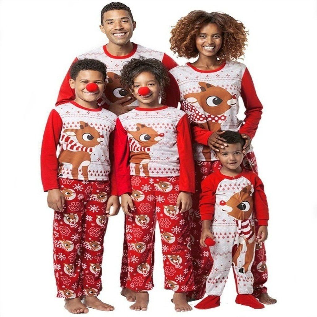 a8fdf3efd6 Family Matching Christmas Pajamas Sets Printed Deer Xmas Sleepwear  Nightwear Adults Kids Christmas Family Matching Outfits Red
