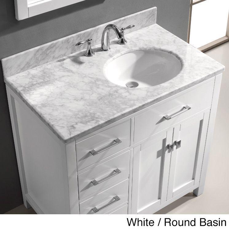 Virtu Usa Caroline Parkway 36 Inch Single Sink Bathroom Vanity Set Right Side Drawers Bathroom Sink Vanity 36 Inch Bathroom Vanity Single Sink Bathroom Vanity