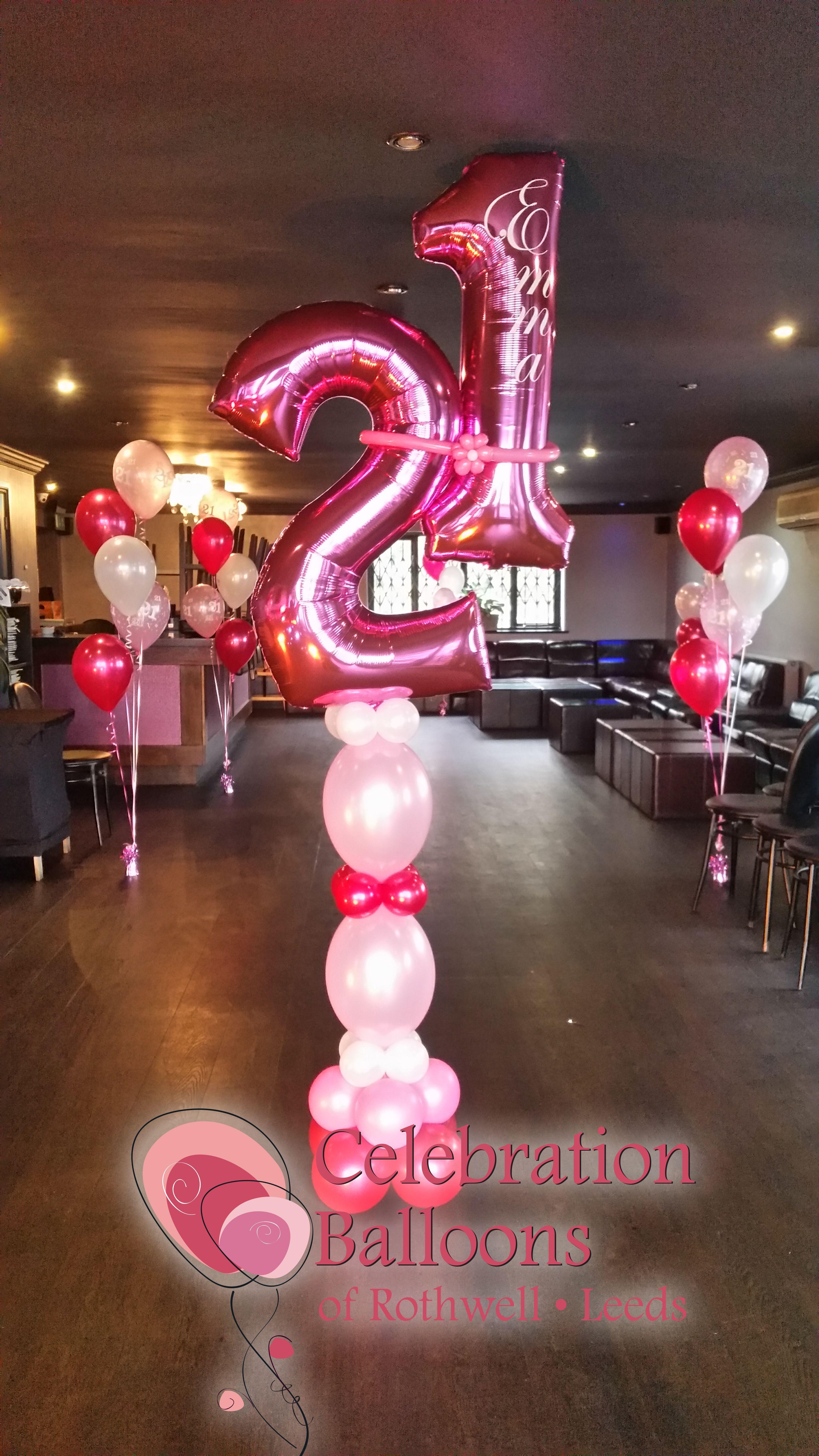 Personalised 21st Birthday Balloon column from wwwballoonsleedscom