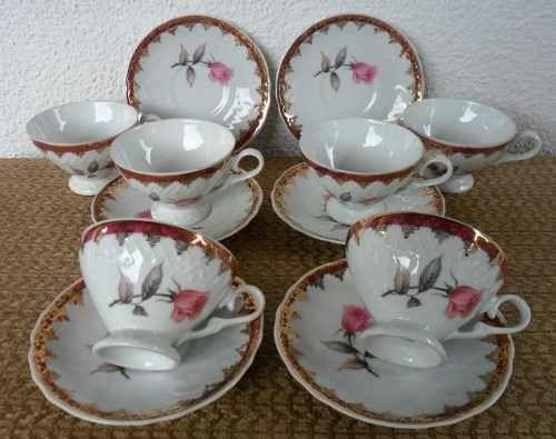 Jogo Cha Antigo Porcelana Floral Schmidt Lindo Completo R 600 00 Porcelana Schmidt Xicaras De Cafe