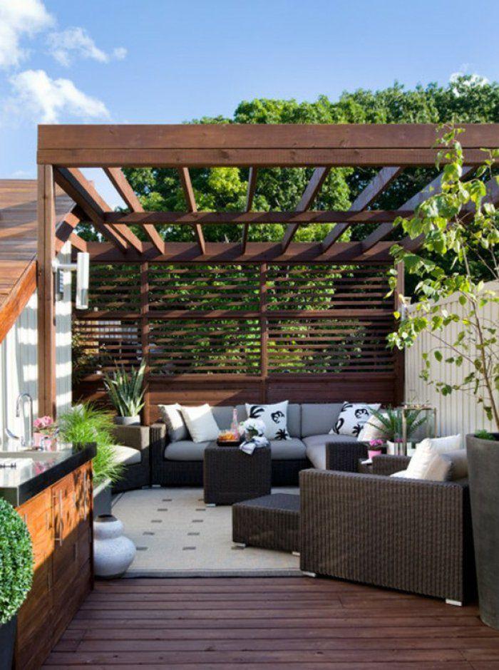 Perfekt ... Terrasse überdachen. Terrassenüberdachung Erholungsecke Gemütlich  Modern Rattanmöbel