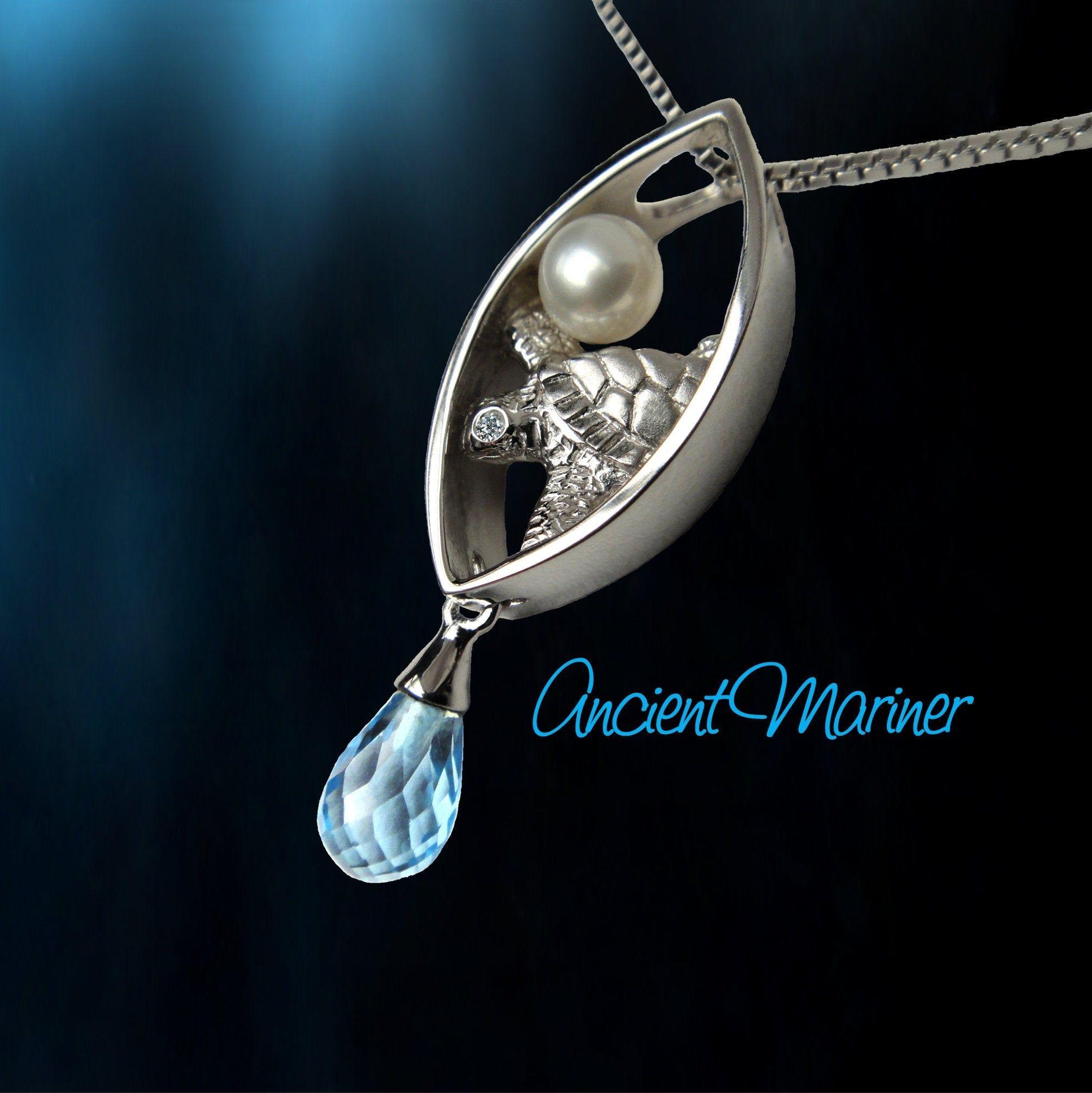 Unique Silver Turtle Pearl Necklace Diamond Ocean Blue