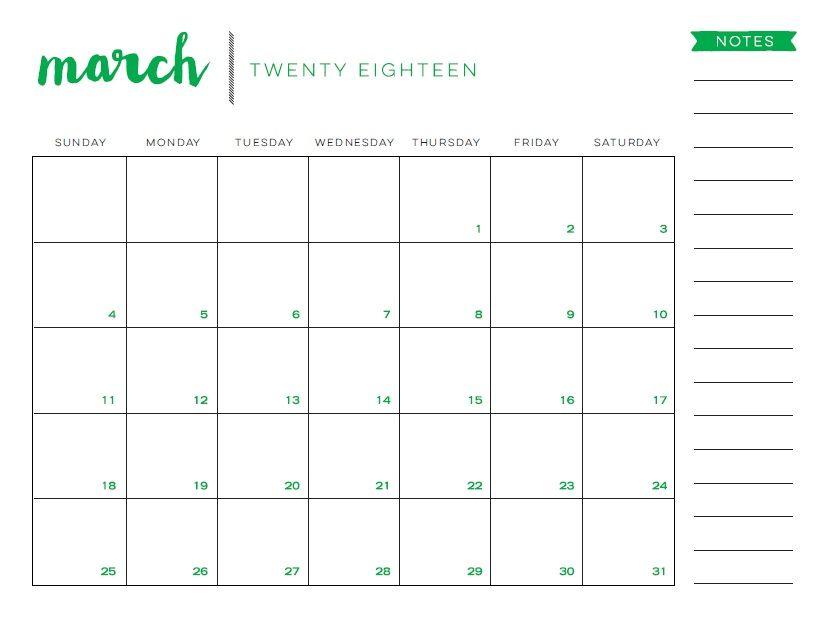 march printable calendar 2018