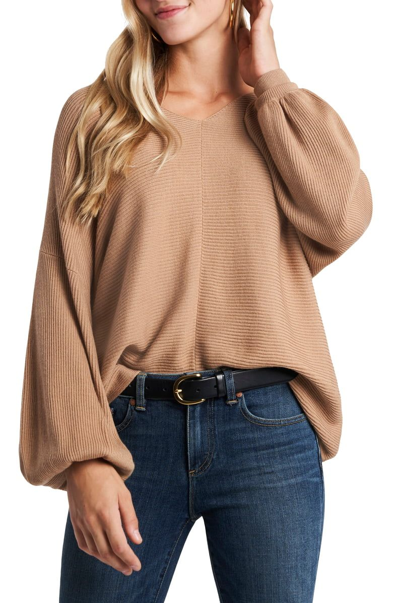 1.STATE Ribbed Balloon Sleeve Cotton Blend Sweater | Nordstrom | Sweater sleeves, Sweaters, Sleeve cotton