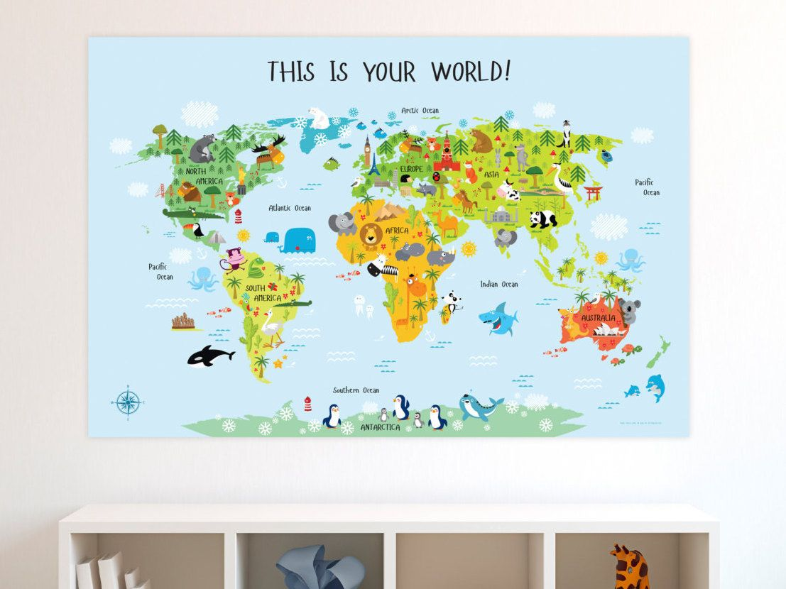 Baby gifts kids world map kids gift unique baby gift first baby gift childrens world map kids gift unique baby gift nursery world gumiabroncs Image collections