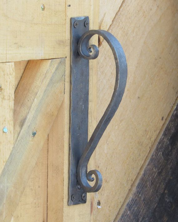 Good Hand Forged Door Pull, Rustic Scroll Door Handle, Gate Hardware...INCLUDES