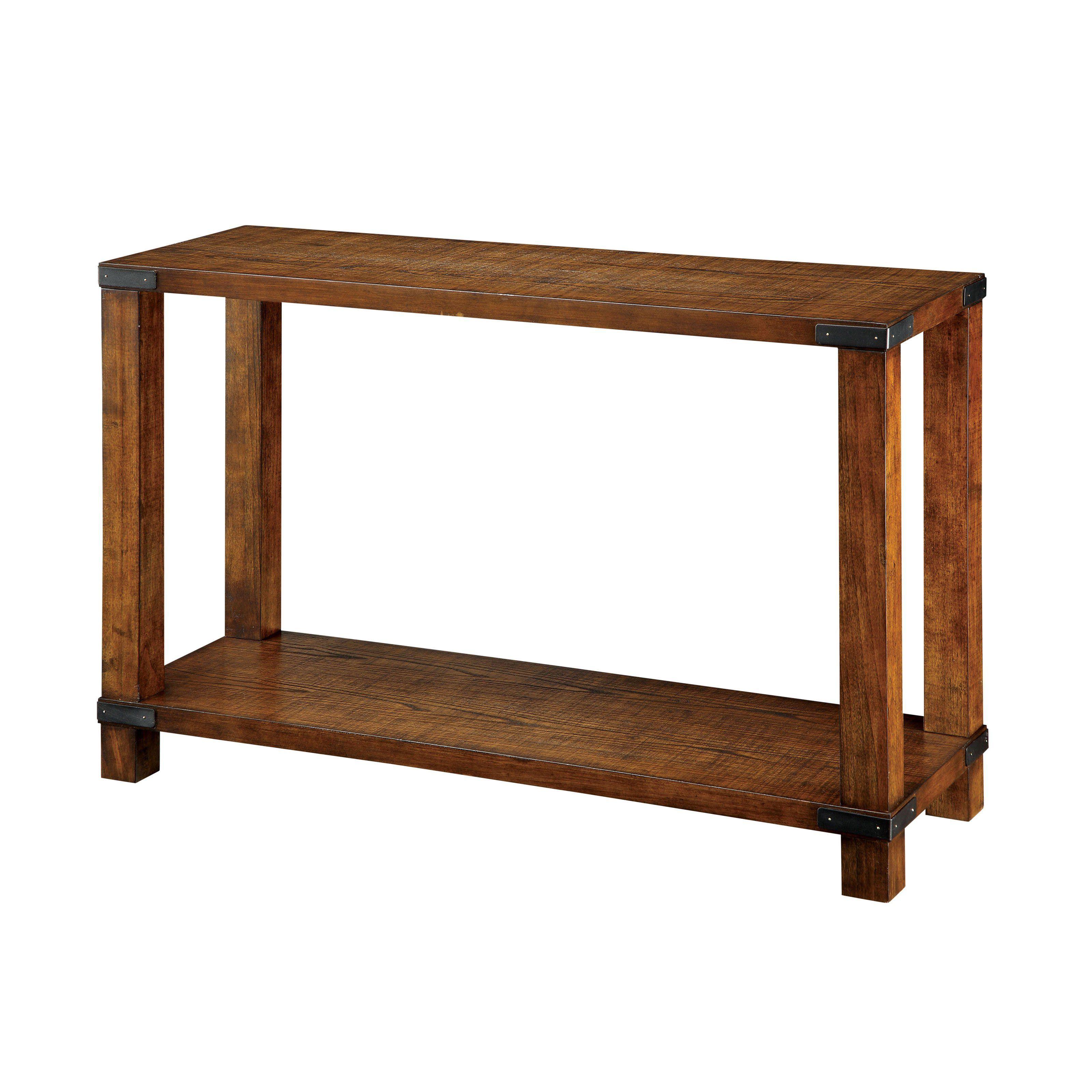 Furniture Of America Titus Dark Oak Sofa Table With Metal Hardware