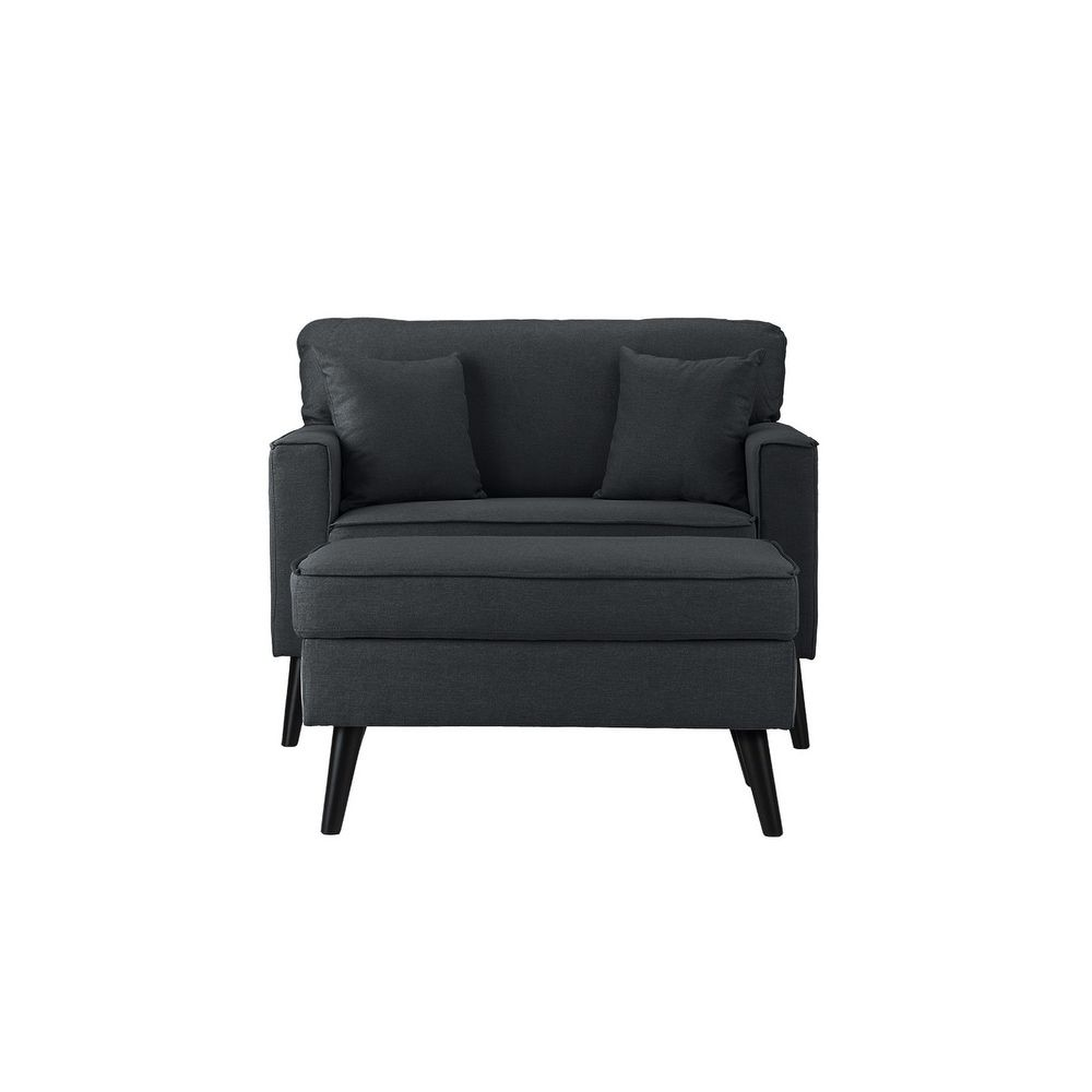 Linen Mid-century Modern Large Living Room Accent Chair with ...