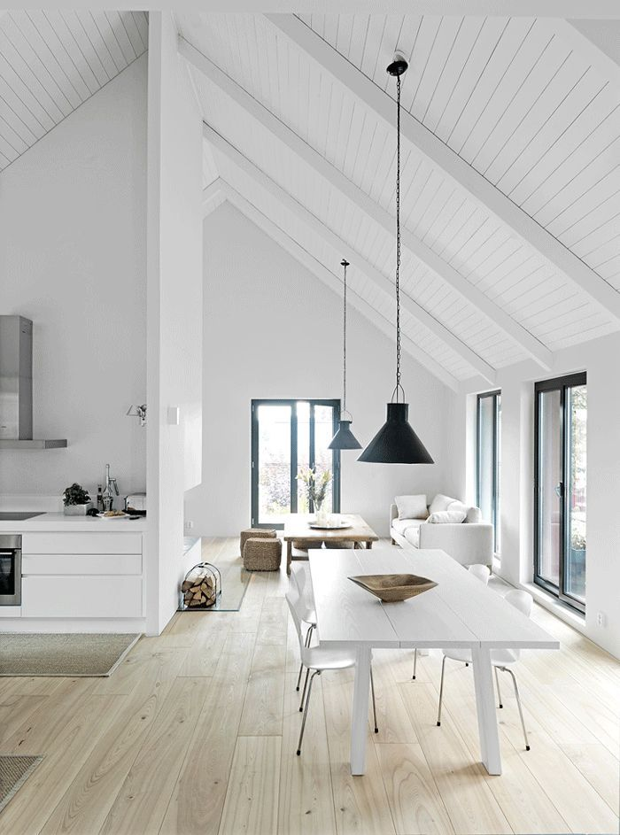 White Wood Ceiling With Modern Light Fixtures And White Furniture. Clean  Modern Look