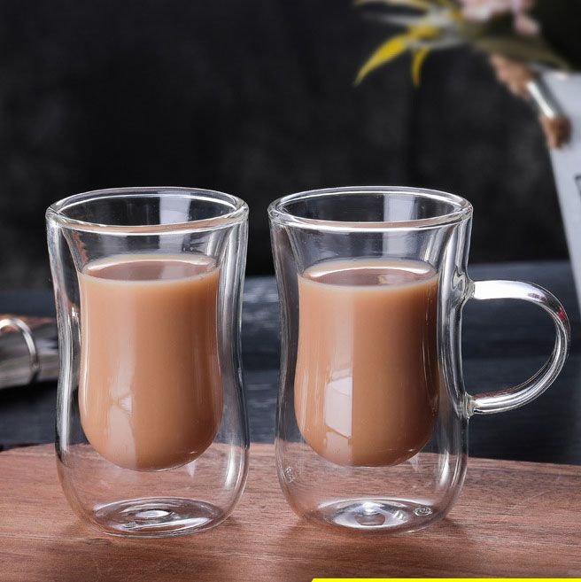 Custom Double-Layer High Borosilicate Glass Insulated Transparent Coffee Cup #coffeecup