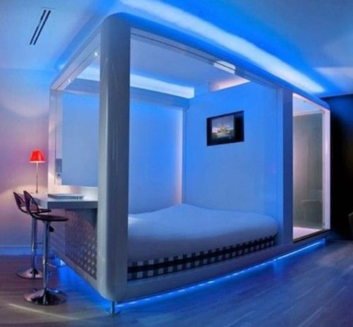 Blue Led Strip Lights Along The Top And Bottom Will Give You This Futuristic Look Futuristic Bedroom Awesome Bedrooms Modern Bedroom Design
